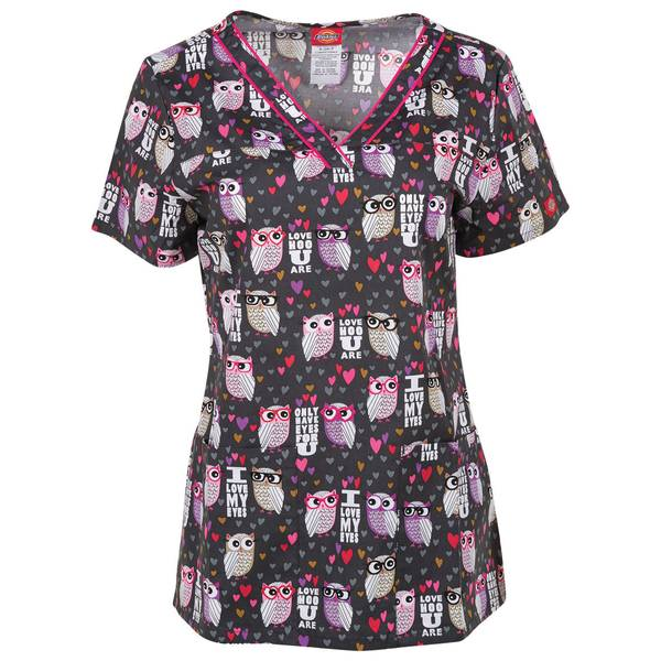 Misses V Neck Love Hoo Owl Print Scrubs Top