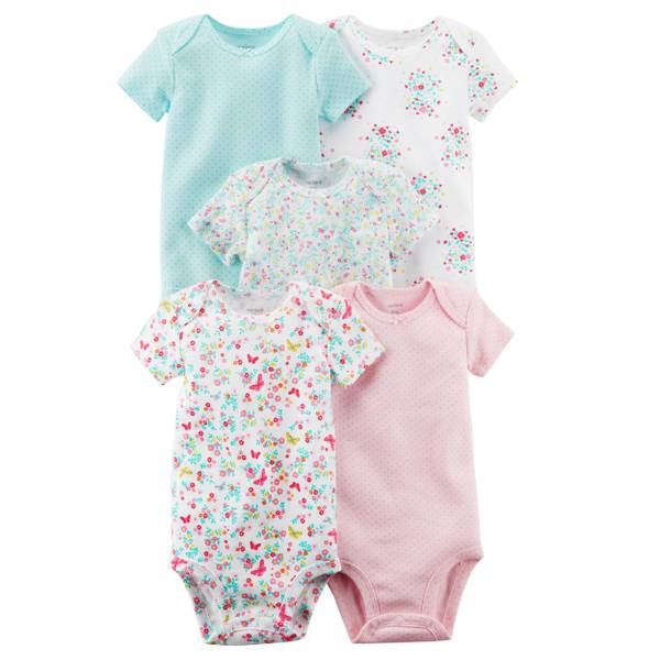 Baby Girls' 5-Pack Short Sleeve Original Bodysuits