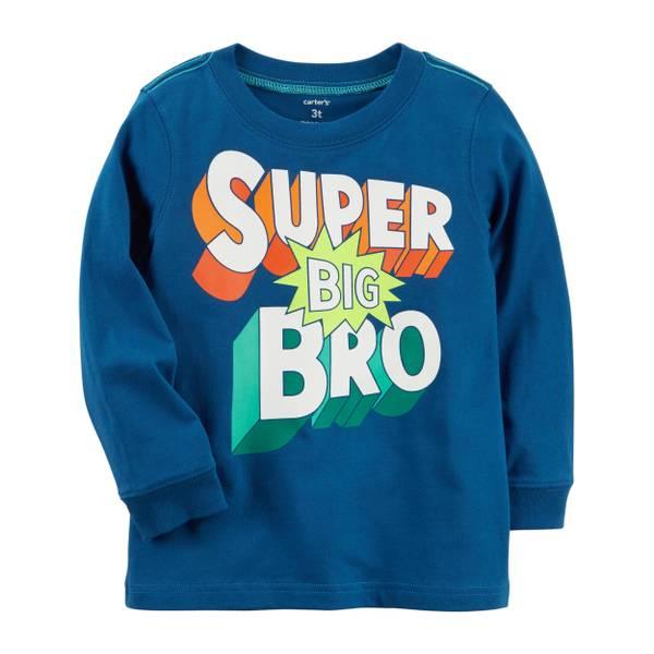 """Toddler Boy's Navy """"Super Big Bro"""" Jersey Tee"""