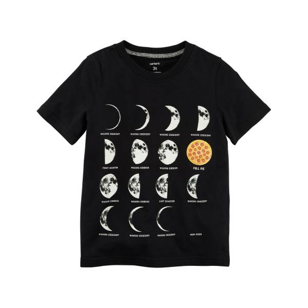 Toddler Boys' Black Short Sleeve Moon Tee