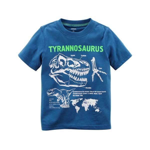 Toddler Boys' Blue Short Sleeve T-Rex Tee