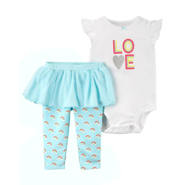 Infant Girl's White & Blue 2-Piece Bodysuit & Tutu Pants Set