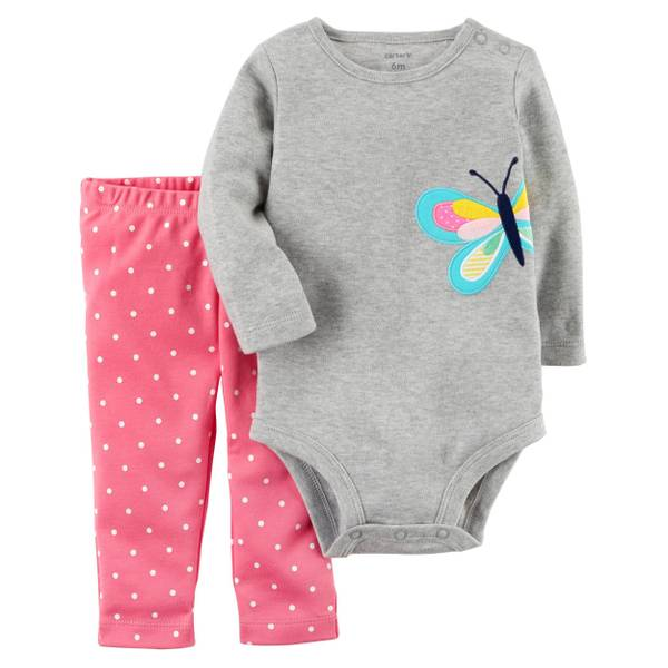 Infant Girl's Gray & Pink 2-Piece Bodysuit & Pants Set