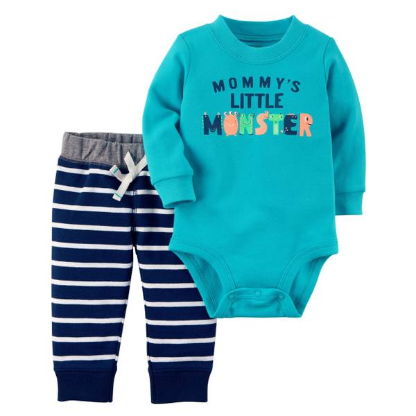 Infant Boy's Turquoise & Blue 2-Piece Bodysuit & Pants Set