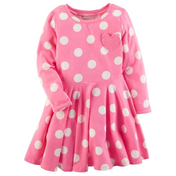 Toddler Girls' Pink Polka Dot Dress