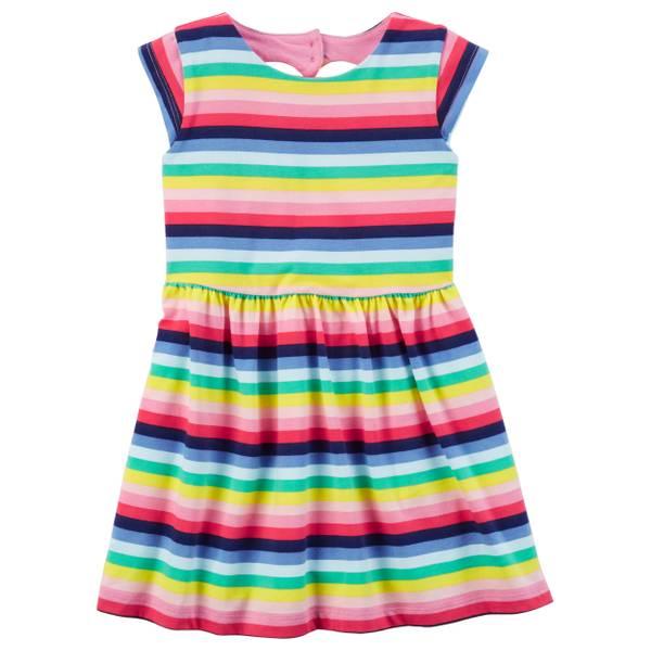 Short Sleeve Striped Dress Pink & Blue
