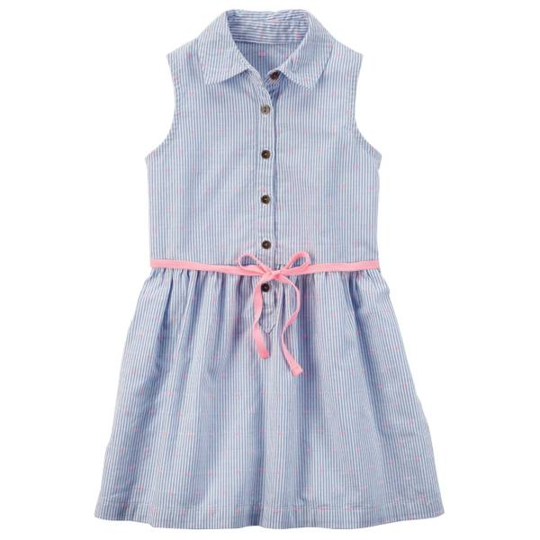 Girl's Sleeveless Button Front Dress Blue