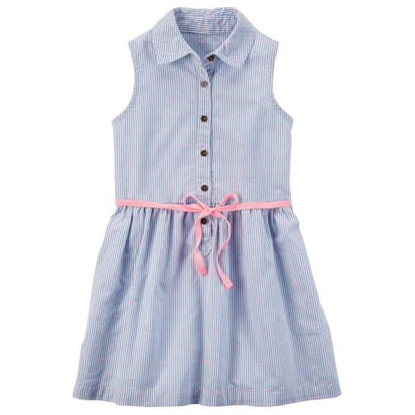 Sleeveless Button Front Dress Blue