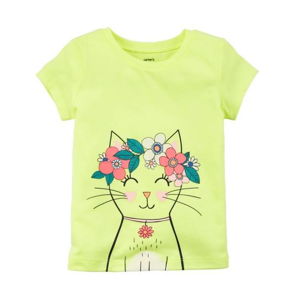 Toddler Girls' Yellow Cat T-Shirt