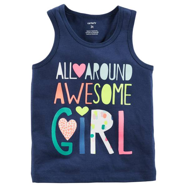 Awesome Girls' Tank Top Navy