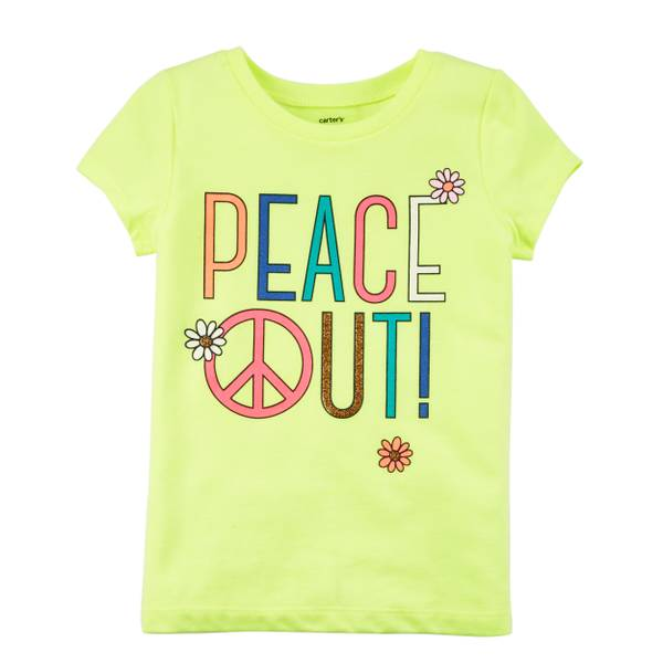 Little Girls' Yellow Peace Out T-Shirt