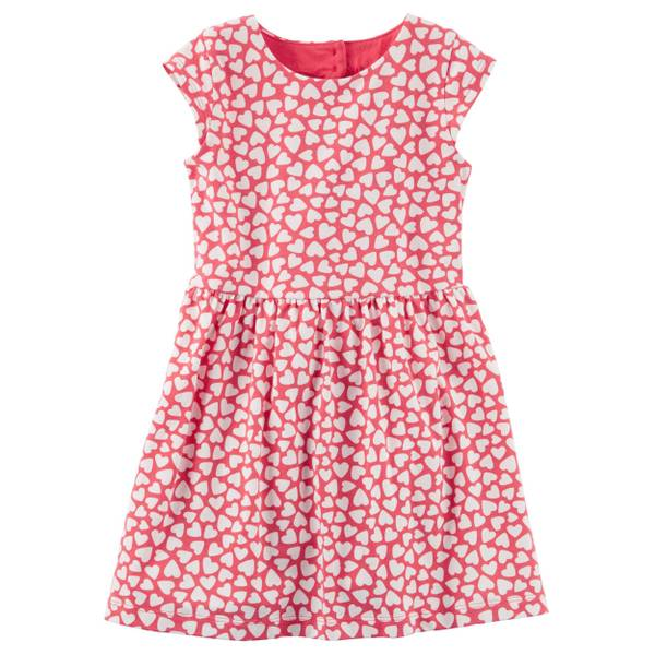 Toddler Girl's Red Heart Jersey Dress