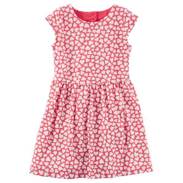 Toddler Girl's Red Heart Jersey Dress