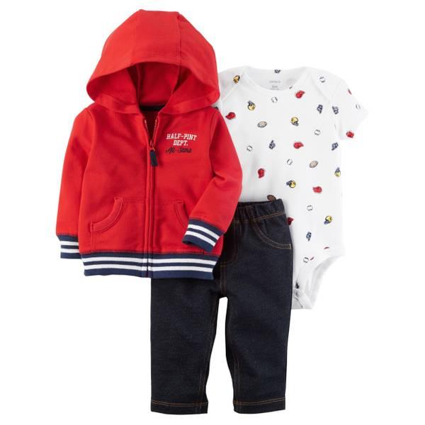 Infant Boy's White & Red & Blue 3-Piece Little Jacket Set