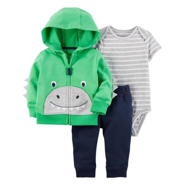 Infant Boy's Gray & Green & Blue 3-Piece Little Jacket Set
