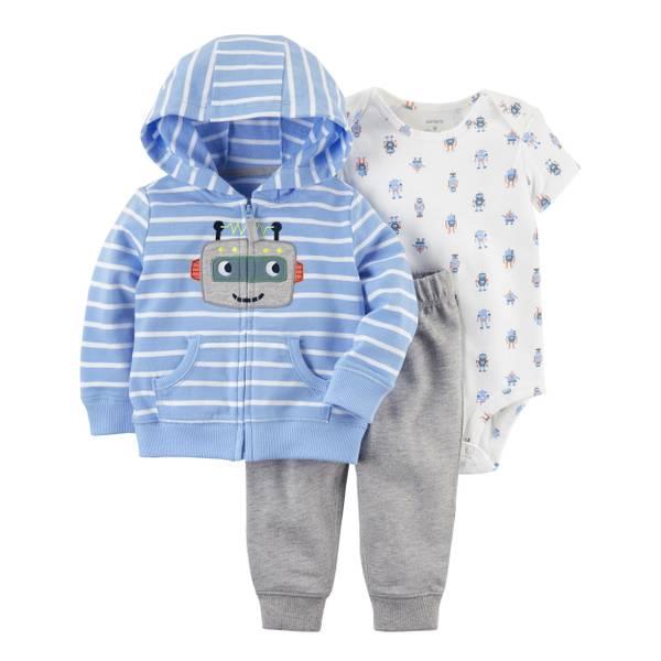 Baby Boy's White & Blue & Gray 3-Piece Little Jacket Set