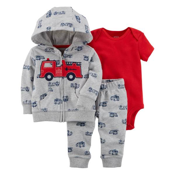 Infant Boy's Red & Gray 3-Piece Little Jacket Set