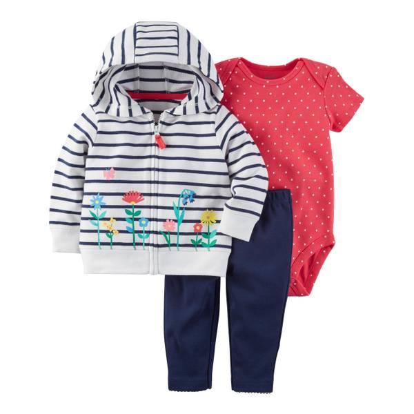 Infant Girl's White & Pink & Blue 3-Piece Little Jacket Set