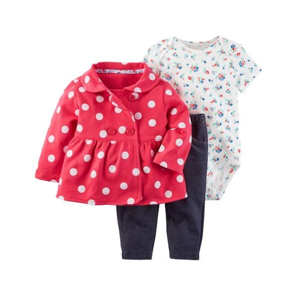Infant Girl's White & Red & Blue 3-Piece Little Jacket Set
