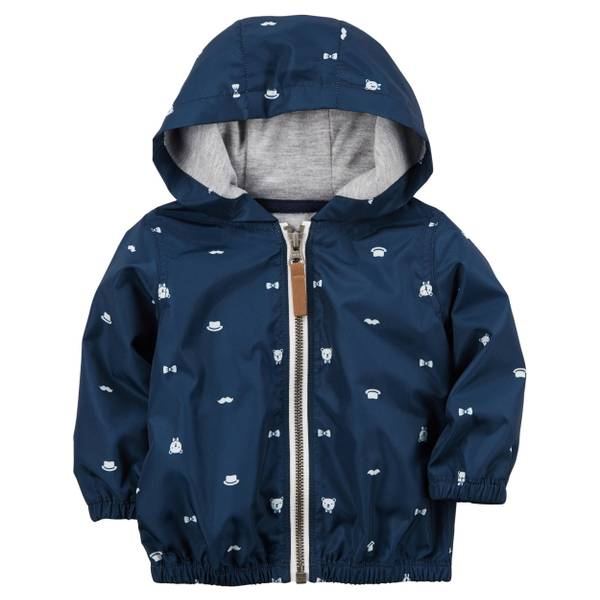 Infant Boy's Navy Zip Up Poplin Hoodie