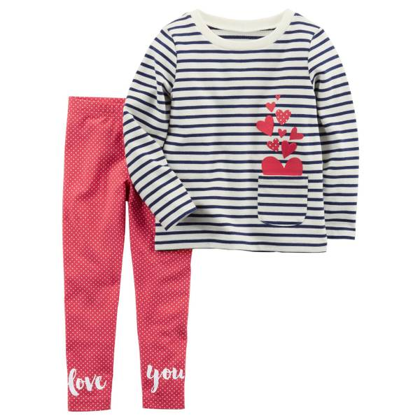 Toddler Girl's White & Red 2-Piece French Terry Top & Polka Dot Leggings Set