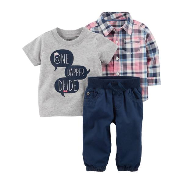 "Baby Boy's Grey, Pink & Navy 3-Piece ""One Dapper Dude"" Plaid Set"