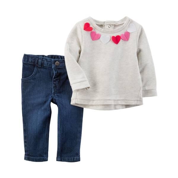 Infant Girl's Heather & Blue 2-Piece Felt Heart Top & Denim Jeans Set