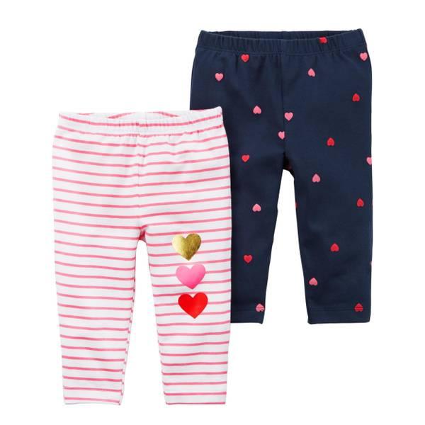 Infant Girl's White & Pink & Navy 2-Pack Heart Leggings