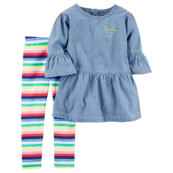 Infant Girl's Blue & Pink 2-Piece Chambray Top & Striped Leggings Set