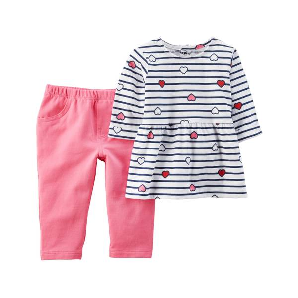 Infant Girl's White & Pink 2-Piece Heart Top & French Terry Pants Set