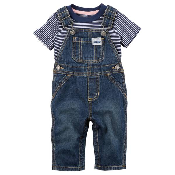Infant Boy's Navy 2-Piece Striped Tee & Denim Overall Set