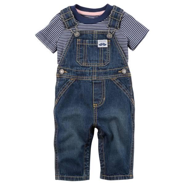 Infant Boy's Navy 2-Piece Striped Tee & Denim Overall Set