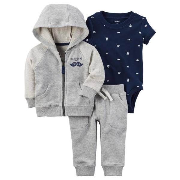 Infant Boy's Heather & Blue 3-Piece Mustache Little Jacket Set
