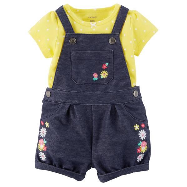 Infant Girl's Yellow & Blue 2-Piece Bodysuit & Shortalls Set