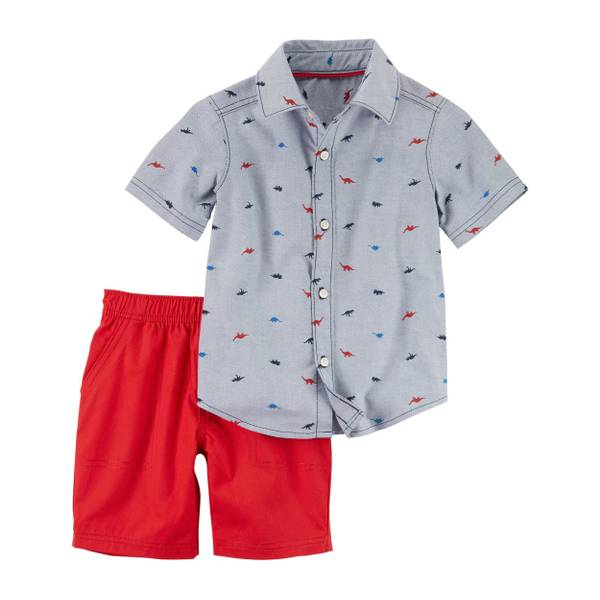 Infant Boy's Grey & Red 2-Piece Button-Front Top & Canvas Shorts Set