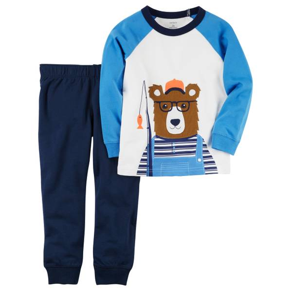 Little Boys' 2-Piece Pant Set Bear Ivory & Blue