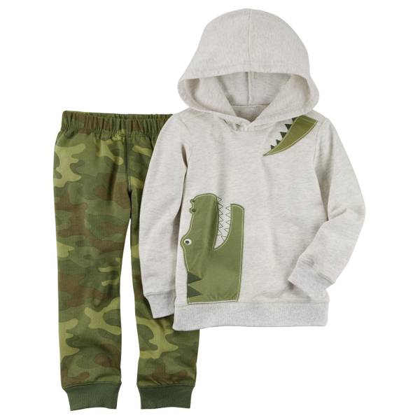 Toddler Boy's Green & White 2-Piece French Terry Hoodie & Joggers Set