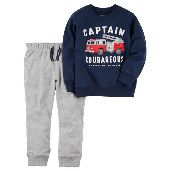 Baby Boy's Navy & Gray 2-Piece French Terry Pullover & Joggers Set
