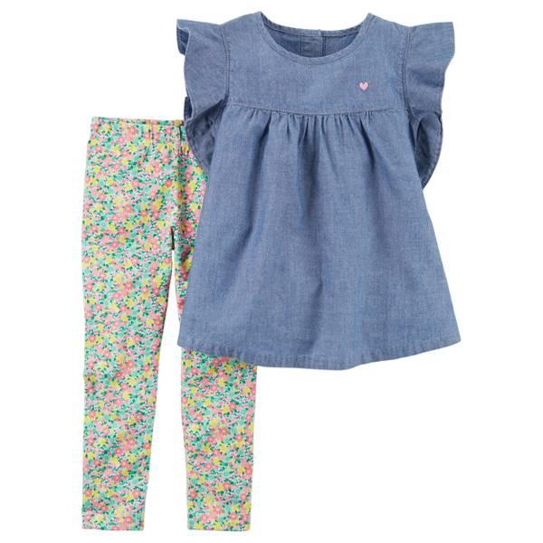 Little Girls' 2-Piece Pant Set Blue & Pink