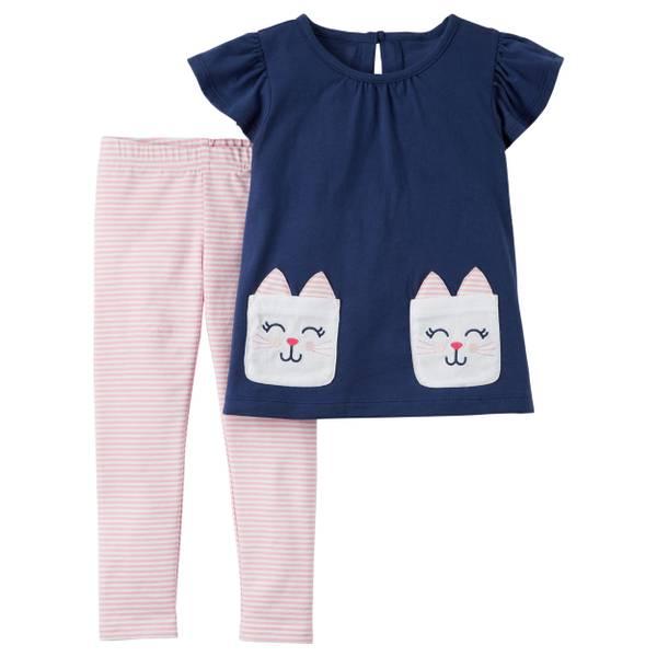 Little Girls' 2-Piece Pant Set Navy & Pink