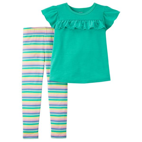 Little Girls' 2-Piece Pant Set Turquoise & Yellow