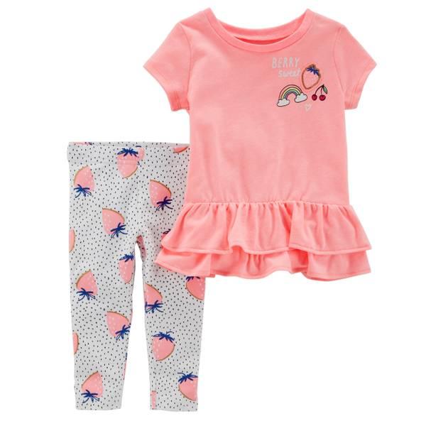 Little Girls' 2-Piece Pant Set Orange & White