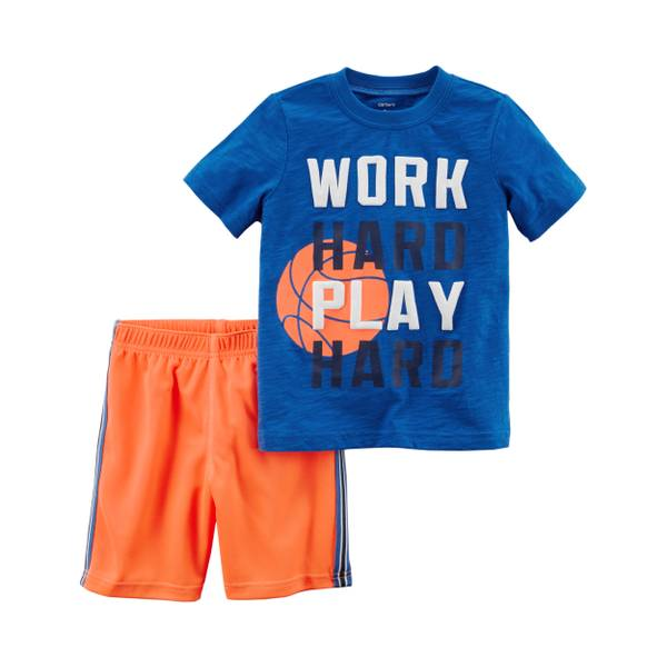Toddler Boys' 2-Piece Short Set Blue & Orange