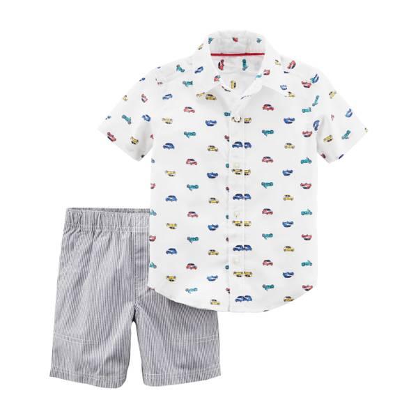 Little Boys' 2-Piece Short Set Ivory & Navy