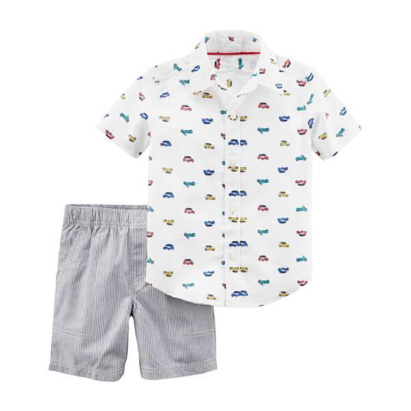 Toddler Boys' 2-Piece Short Set Ivory & Navy