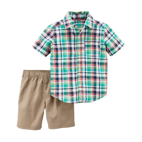 Little Boys' 2-Piece Short Set Blue & Green & Khaki