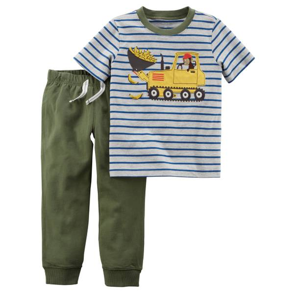 Toddler Boys' 2-Piece Pant Set Grey & Olive