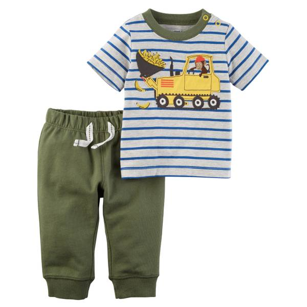 Little Boys' 2-Piece Pant Set Grey & Olive
