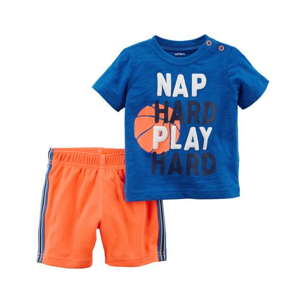 Little Boy's Blue & Orange 2-Piece Shorts Set