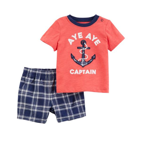 Toddler Boys' 2-Piece Short Set Orange & Navy